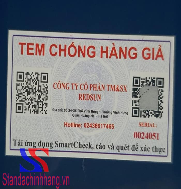 Hình ảnh tem chống hàng giả của ổn áp standa 5kva công ty redsun