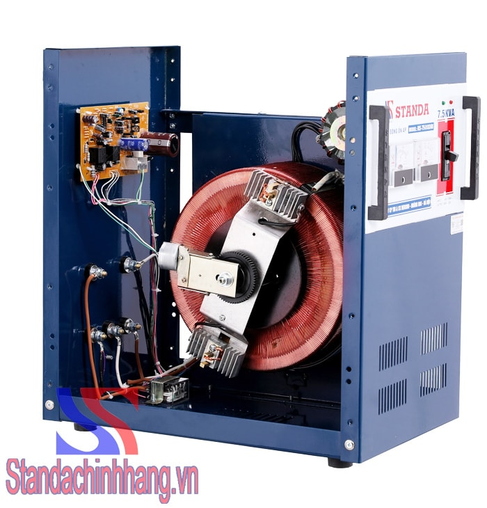 ảnh lõi đồng và chổi than của ổn áp standa 7.5kva loại dải điện áp từ 150 đến 250v