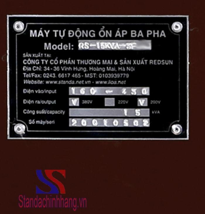HÌnh ảnh chi tiết tem thông số kỹ thuật ổn áp standa 15kva 3 pha dải từ 260V