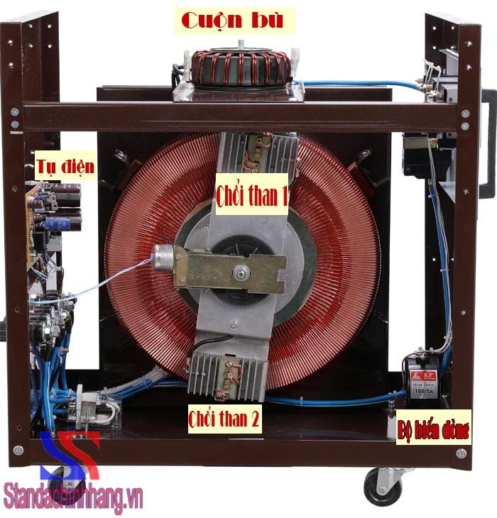 ảnh tụ điện chổi than, cấu tạo chi tiết của máy ổn áp standa 30kva dải từ 50v