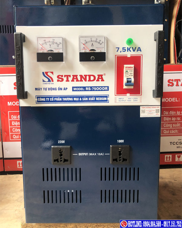 Ổn áp Standa 7.5KVA dải 90V 2 ổ cắm
