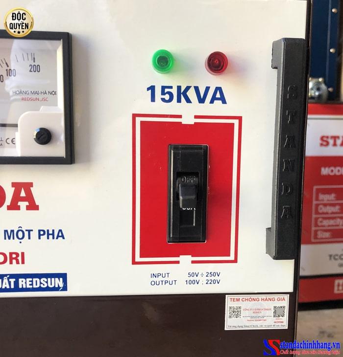 Hình ảnh dập chìm đỉnh máy quai sách ổn áp Standa 15KVA dải 50V -250V chính hãng Standa redsun