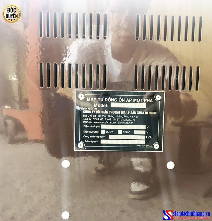 ảnh ổn áp standa 15kva dải 90V chính hãng thế hệ mới 2021