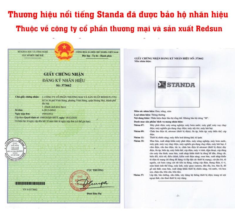 giấy chứng nhận đăng ký nhãn hiệu Standa thuộc về công ty cổ phần thương mại và sản xuất Redsun