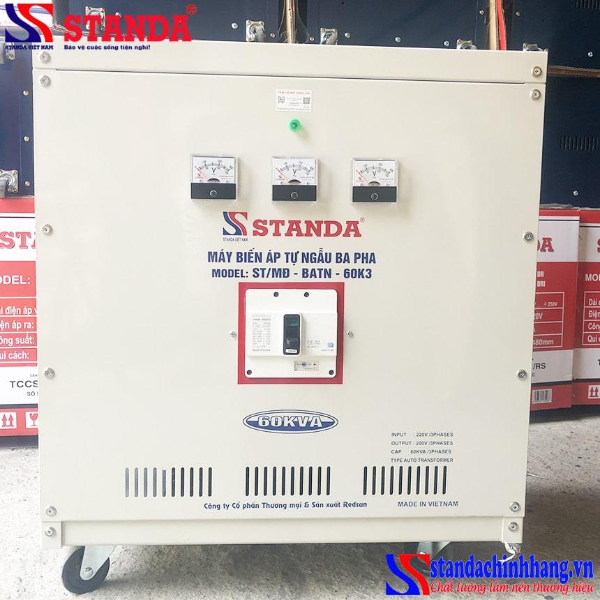 Biến áp tự ngẫu Standa 60KVA vào 220V ra 200V 3 pha