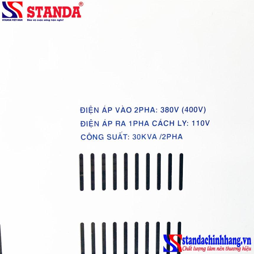 ảnh chi tiết điện áp đầu ra Máy biến áp cách ly Standa 20KVA 2 pha