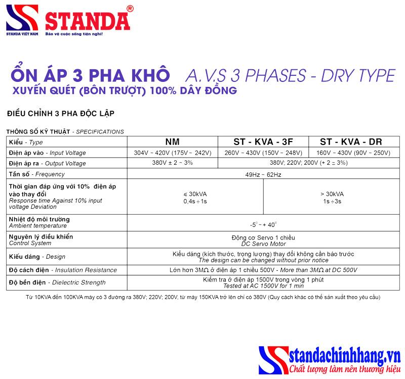 Thông số kỹ thuật ổn áp standa 3 pha 30KVA dây đồng 100%